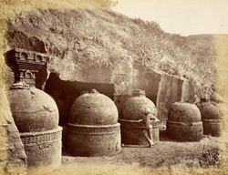 Group of dagobas (stupas) from the east, Bhaja Caves, Pune District